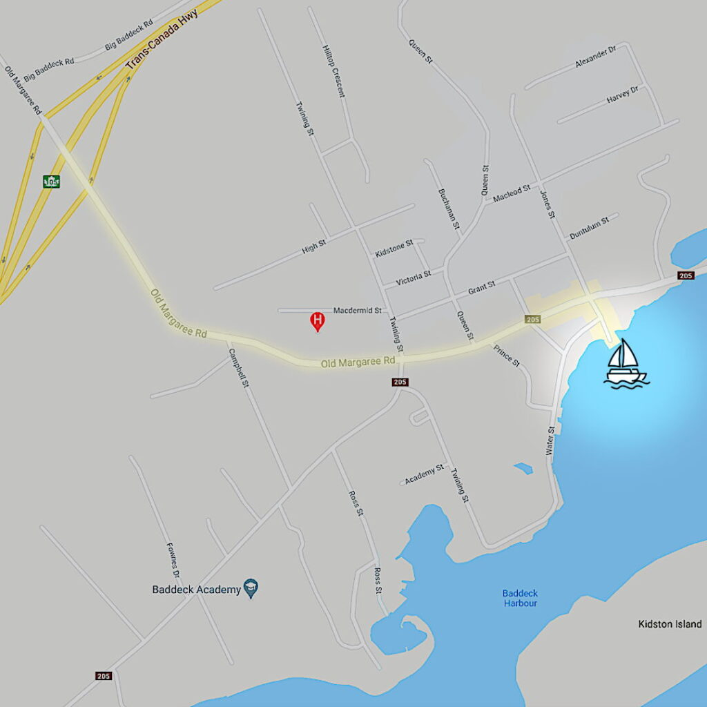Map of the village of Baddeck, Nova Scotia, with highlighted route and location of Cape Breton 1 catamaran - docked at Baddeck Community Wharf.